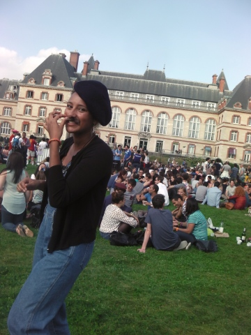 Feeling very french in my beret and moustache
