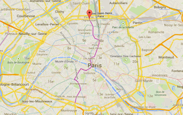 Porte de Clignancourt is where the red marker is, the purple line is the metro line 4